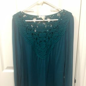 Teal long sleeve shirt from Anthropologie